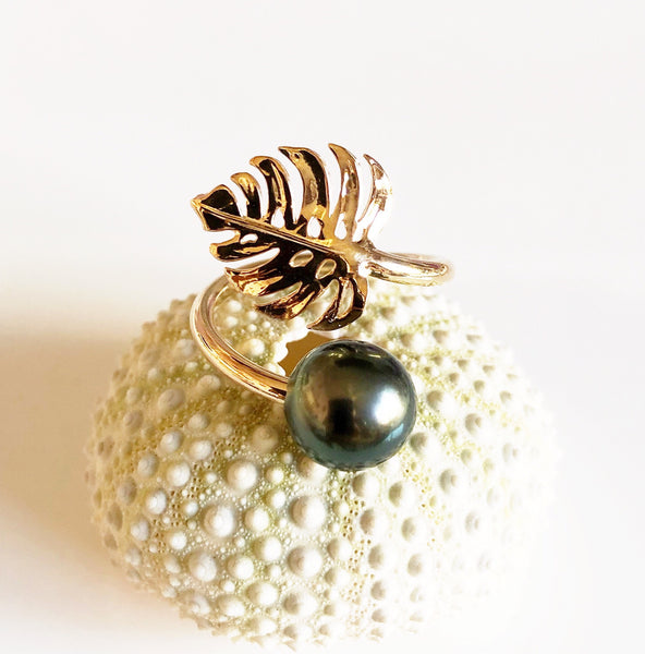 Monstera ring - tahitian pearl (R184)