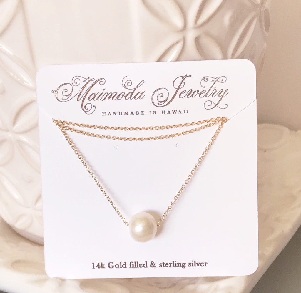 Necklace Kea - white pearl (N133)