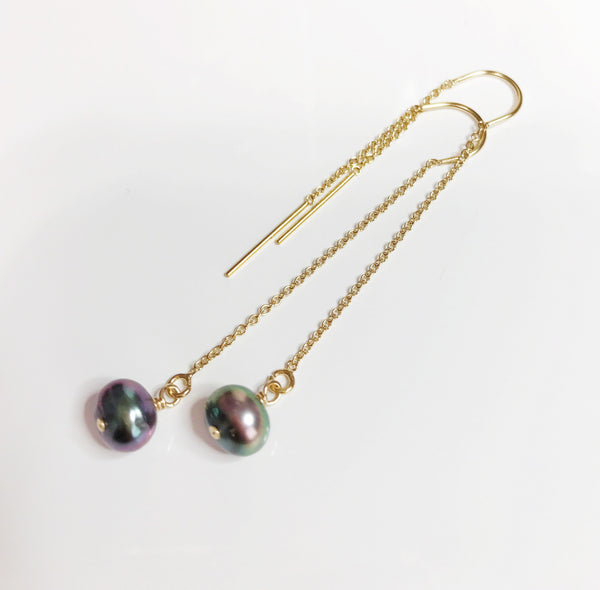 Earrings Ella - Keshi tahitian pearls (E360)