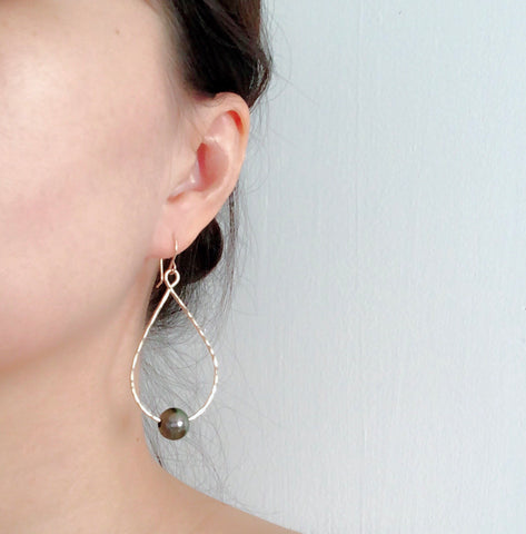 Earrings Molly -  tahitian pearls hoops ( E318)