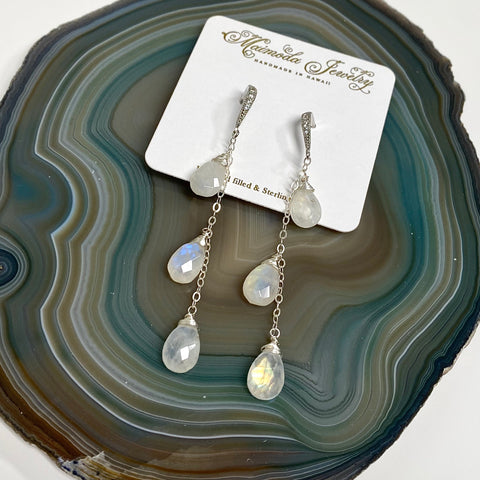 Earrings Adele - moonstone (E346)