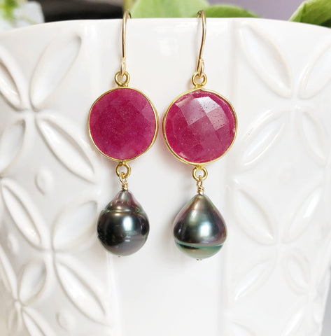 Earrings Kara - ruby ( E362)