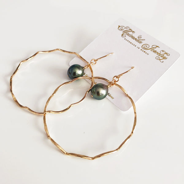 Earrings TOMI - tahitian pearl (E505)