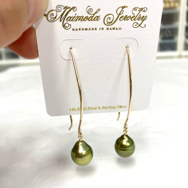 Earrings KALENA - pistachio Tahitian pearl (E606)
