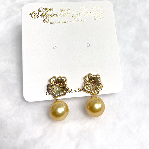 Earrings HAIKU - pua & gold south sea pearl (E563)