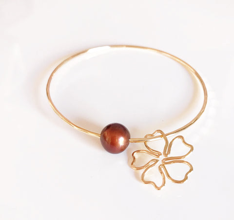 Cherry blossom bangle- chocolate pearl (B299)