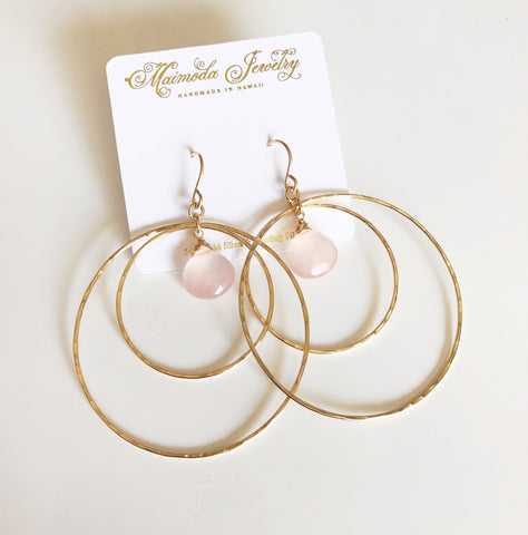 Earrings Rachel - pink chalcedony  (E248)