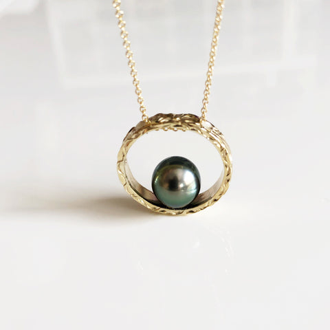 Eternity ring necklace - tahitian pearl (N299)