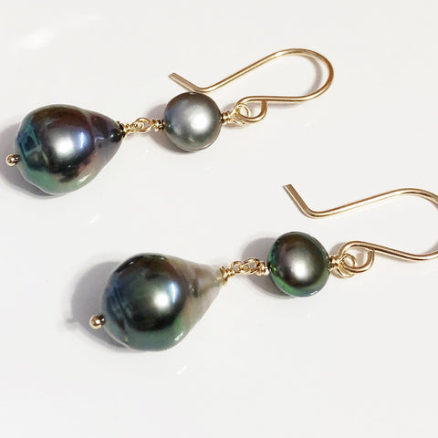 Earrings ENEA - Keshi tahitian pearl (E471)