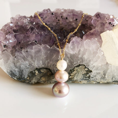 Necklace ARYA - purple ombré (N293)