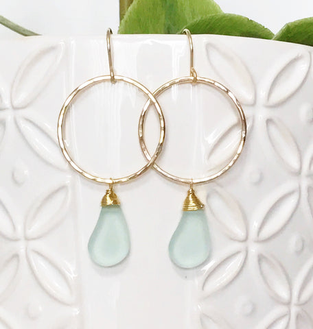 Earrings Lulu - sea foam  (E315)