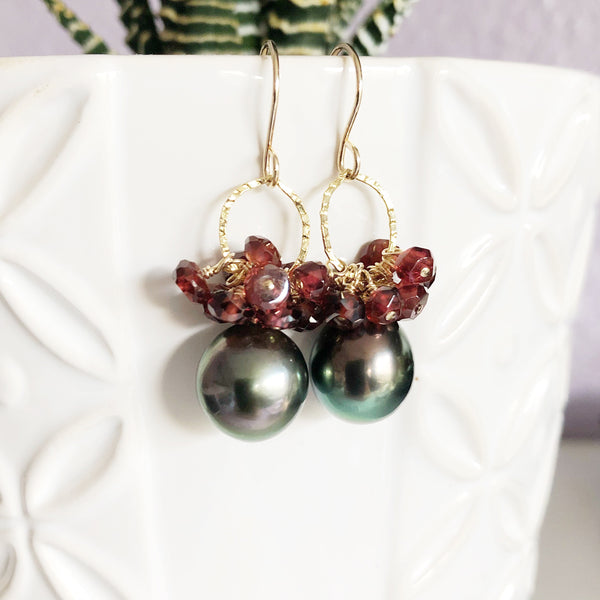Earrings KIRA - garnet (E527)