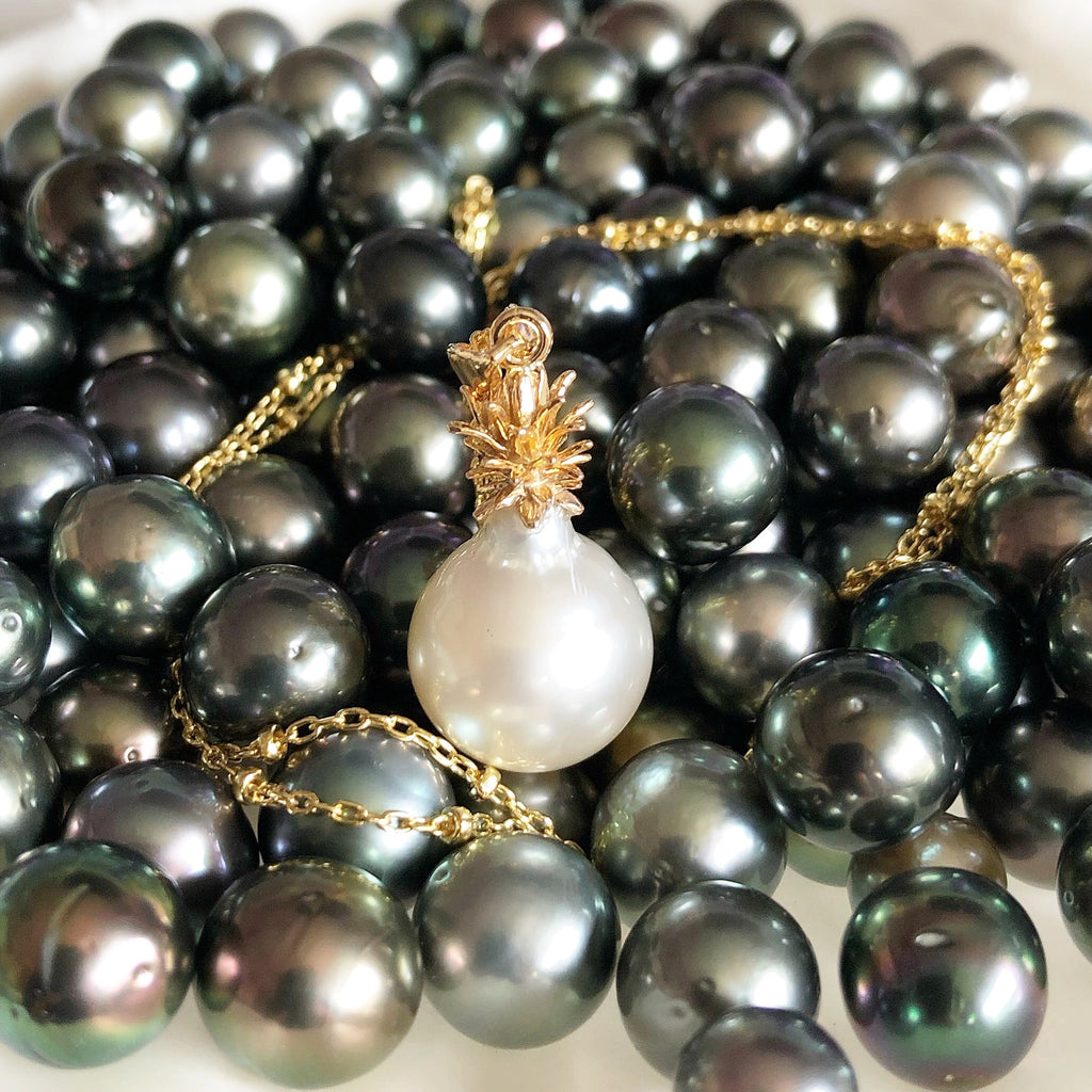 Pineapple pearl necklace - south sea pearl (N311)