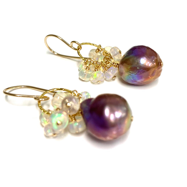 Earrings Kira - lavender Edison pearl & Ethiopian opal ( E583)