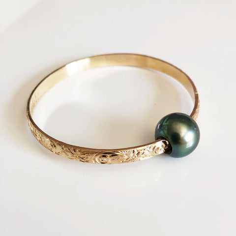 Bangle AKELA - tahitian pearl (B421)