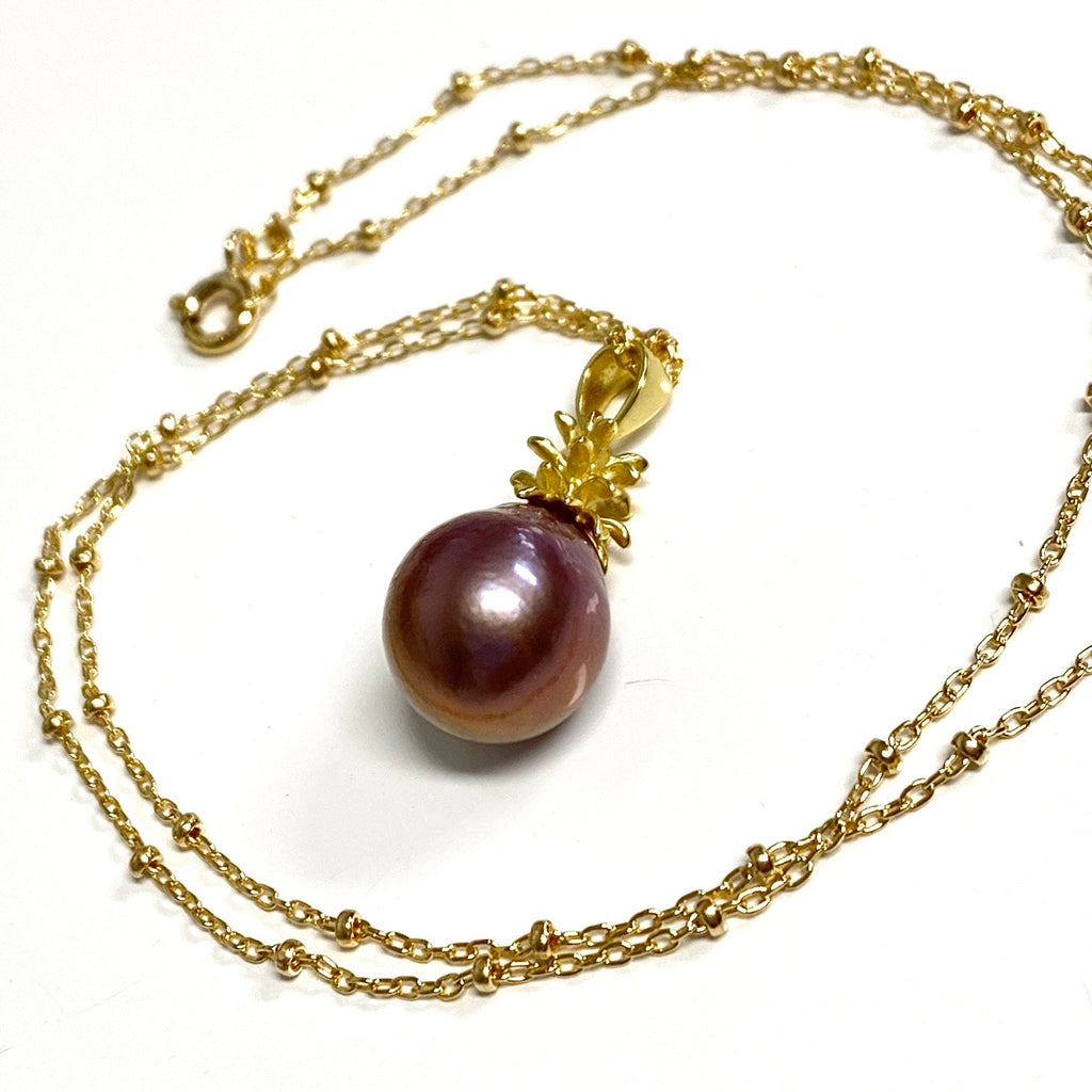 Pineapple pearl necklace - lavender Edison pearl (N333)