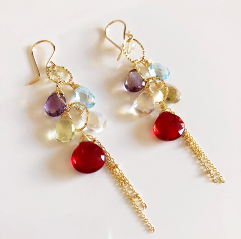 Earrings AVA - garnet quartz (E300)