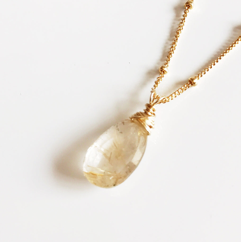 Necklace Keri - golden rutilated quartz (N230)