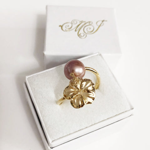 Hibiscus ring - lavender pearl (R196)
