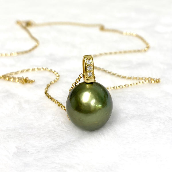 Necklace Irene - chocolate / pistachio/ blue Tahitian pearl