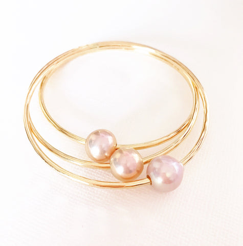 Bangle Mika -  pink Edison pearl  (B252)