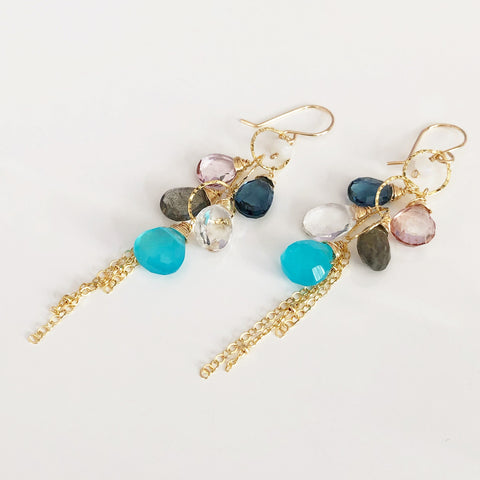 Earrings AVA - blue chalcedony(E295)