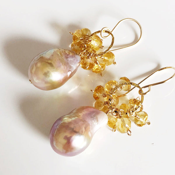 Keshi Edison pearl earrings - citrine (E518)