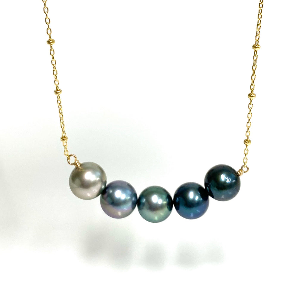 Necklace TEHINA - ombré Tahitian pearls (N346)