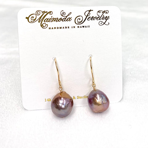 Baroque purple Edison pearls dangle (E603)