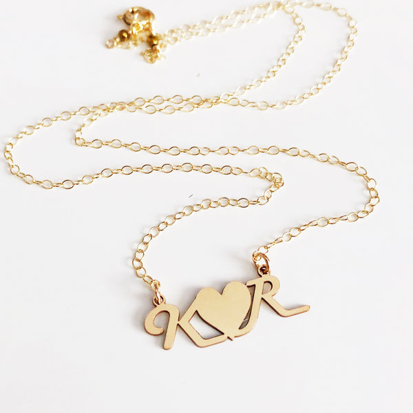 Couple initials necklace (N300)