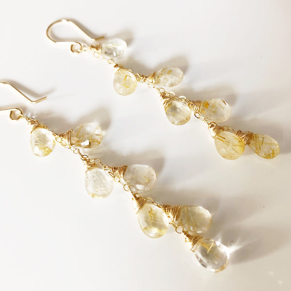 Earrings ZIA - Rutilated Quartz ( E458)