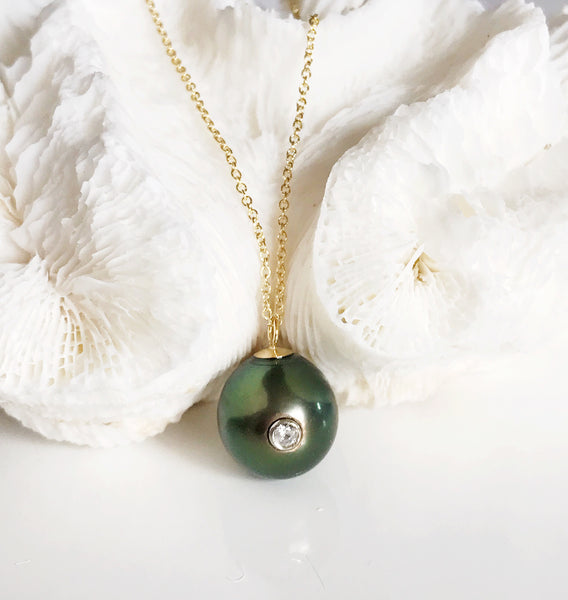 Necklace Gia - Diamond tahitian pearl   (N163)