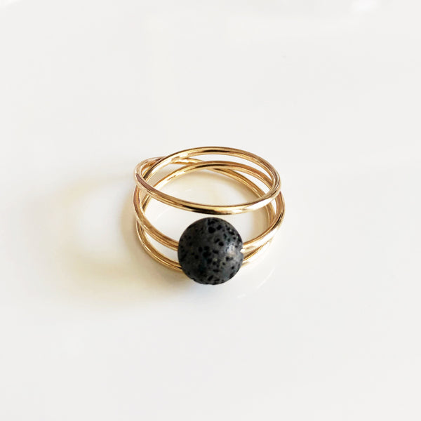 Ring LOELA - Black lava rock (R190)