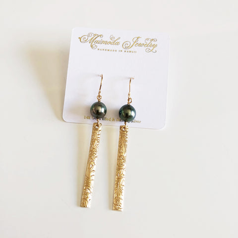 Earrings MELIA - tahitian pearl (E536)