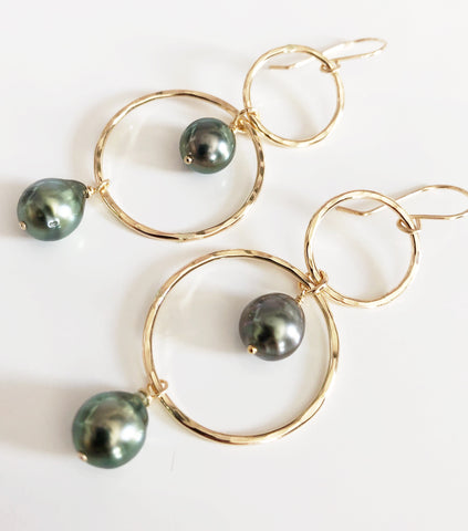Earrings ANELA - tahitian pearls (E539)