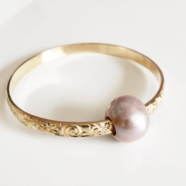 Bangle AKELA - pink Edison pearl (B406)