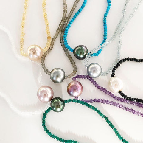 Gemstone and pearl necklace (N314)
