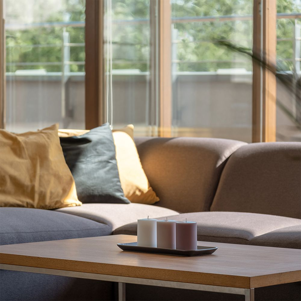 office table, sofa, coffee table, pantry