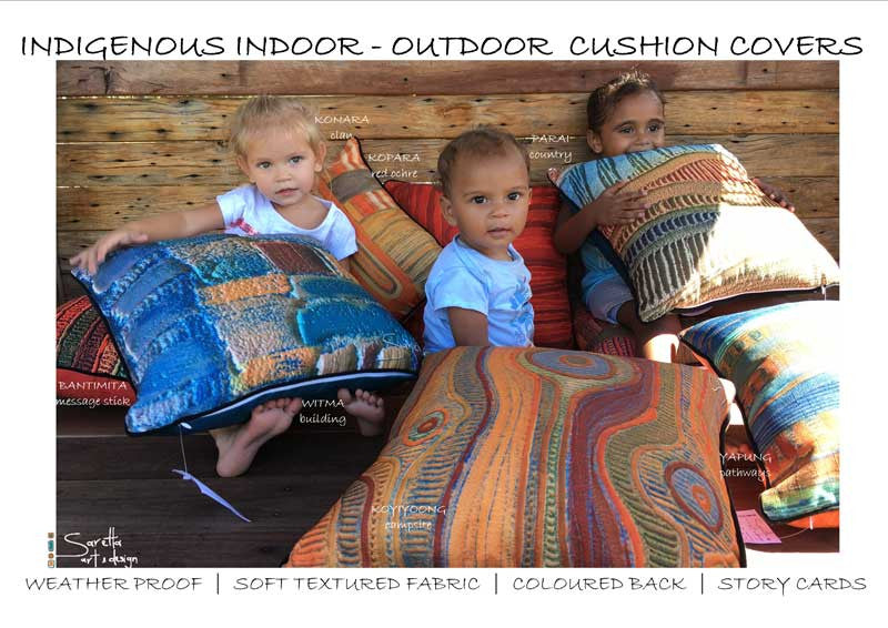 Babies enjoying Aboriginal design on cushion cover. Koyiyoong Campsite is a orange cushion cover