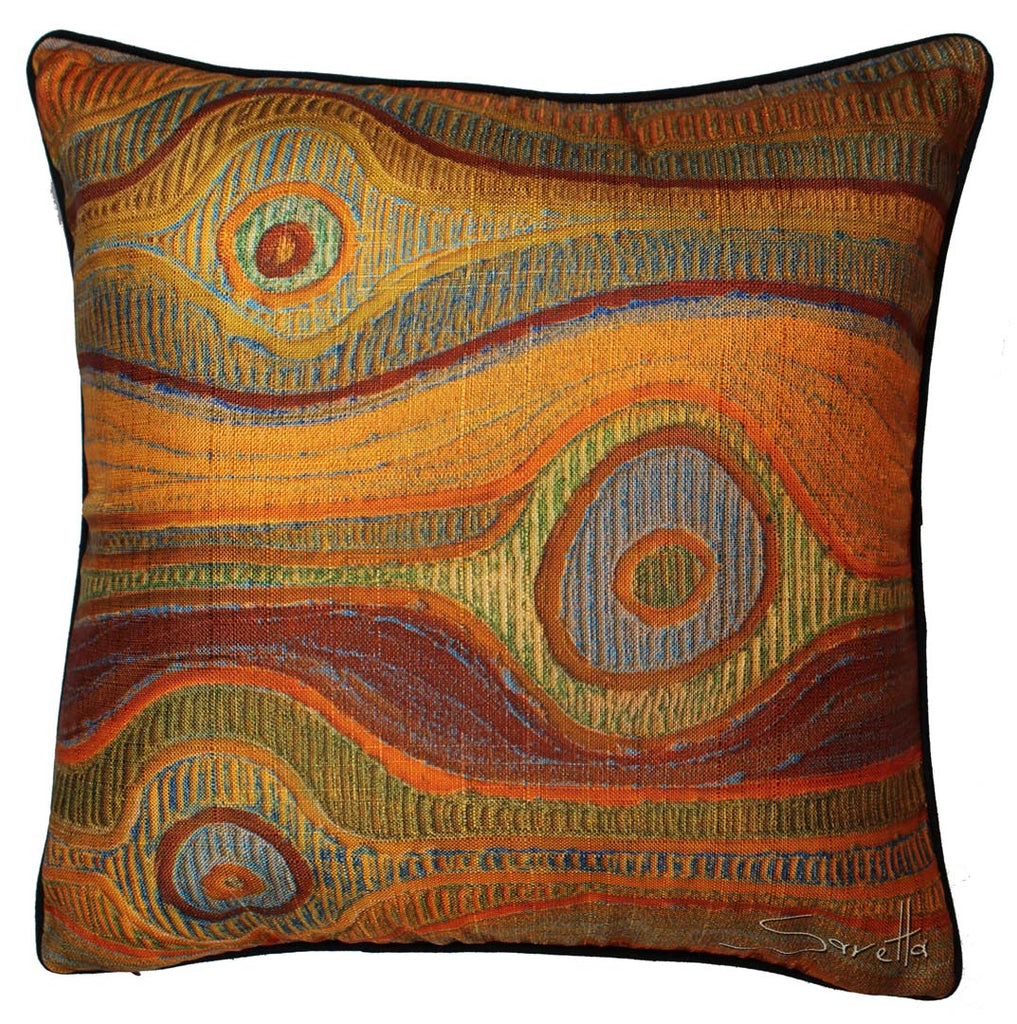 Aboriginal design on cushion cover. Koyiyoong Campsite is a orange water repellent cushion cover
