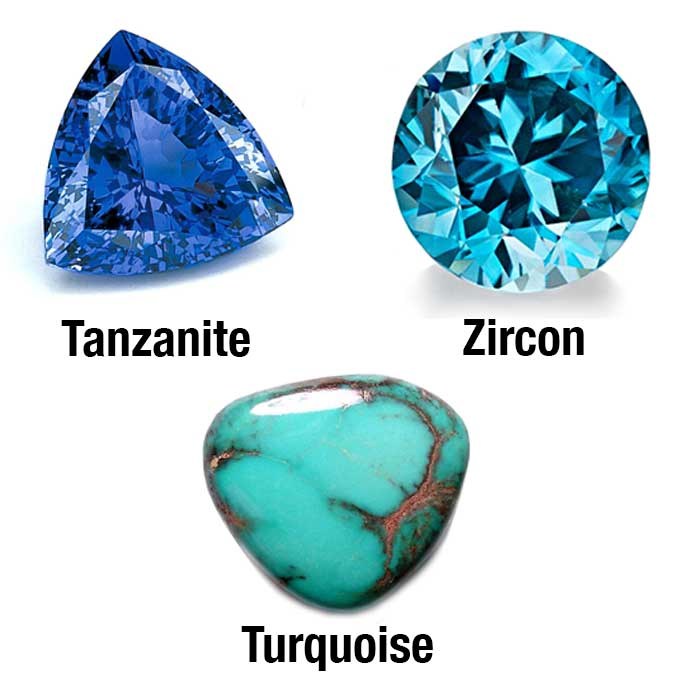 Exploring the Winter Blue Birthstones of December: Zircon, Turquoise and Tanzanite.