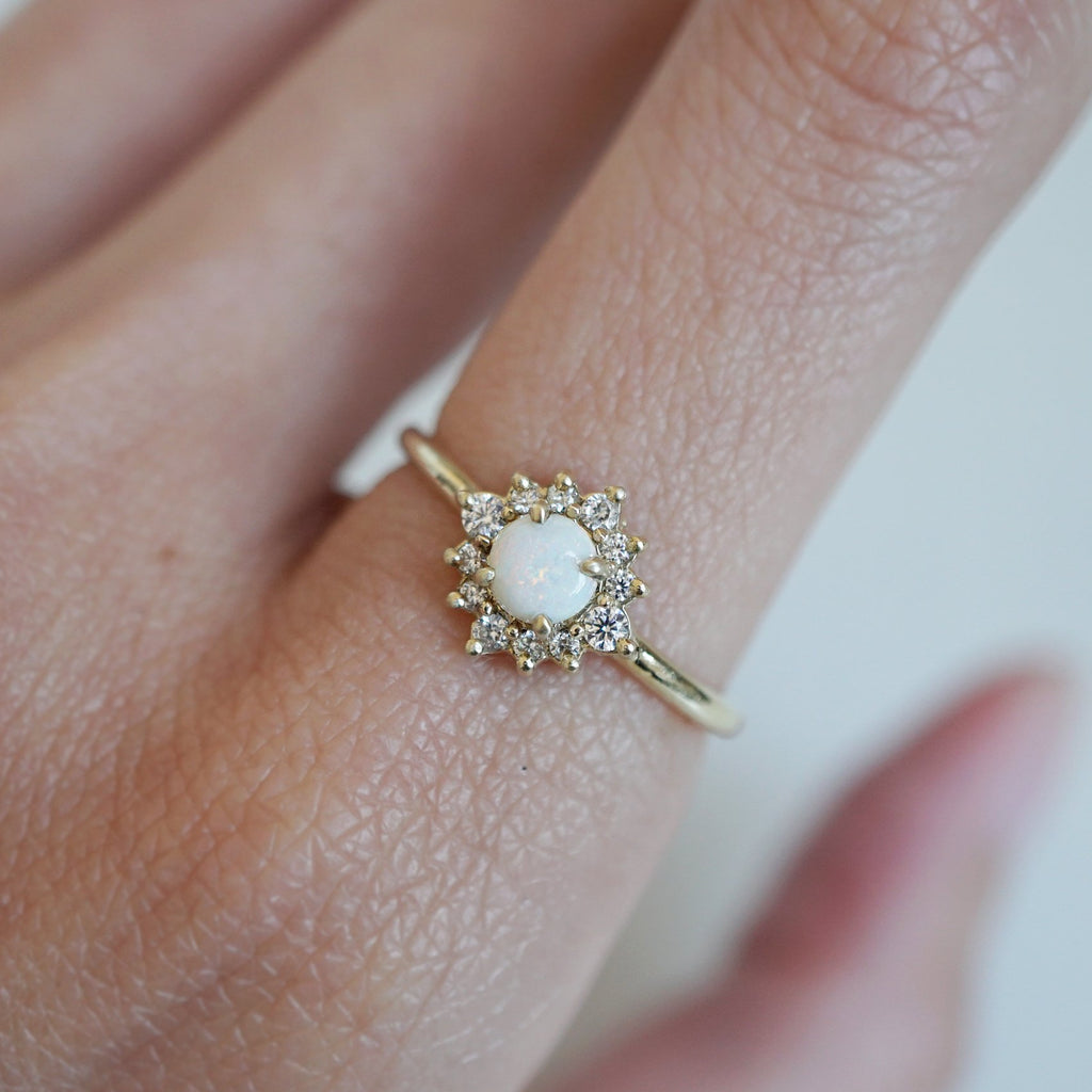 10K Australian Opal Flower Ring - Melroso Jewelry