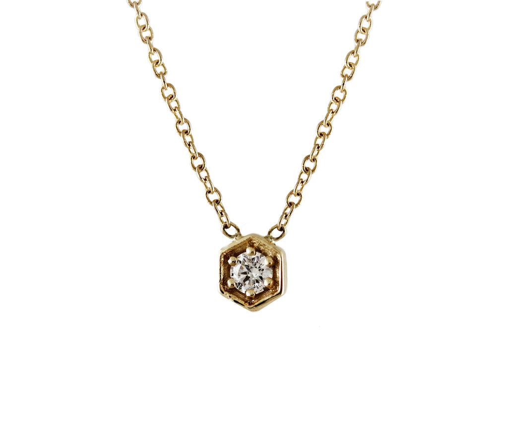 14KT Tiny Hexagon With Diamond Necklace - Melroso