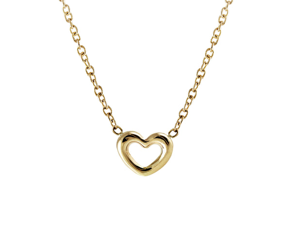 14KT Tiny Open Heart Necklace - Melroso Jewelry