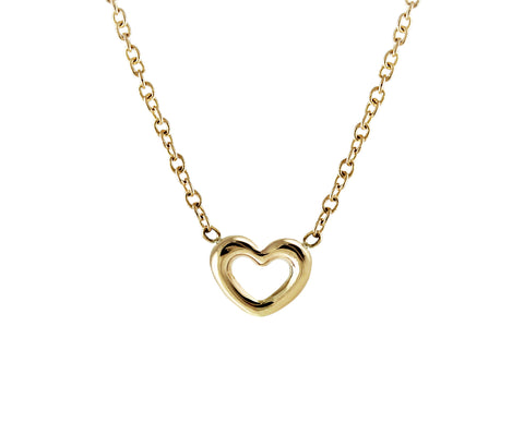 14KT Tiny Open Heart Necklace - Melroso