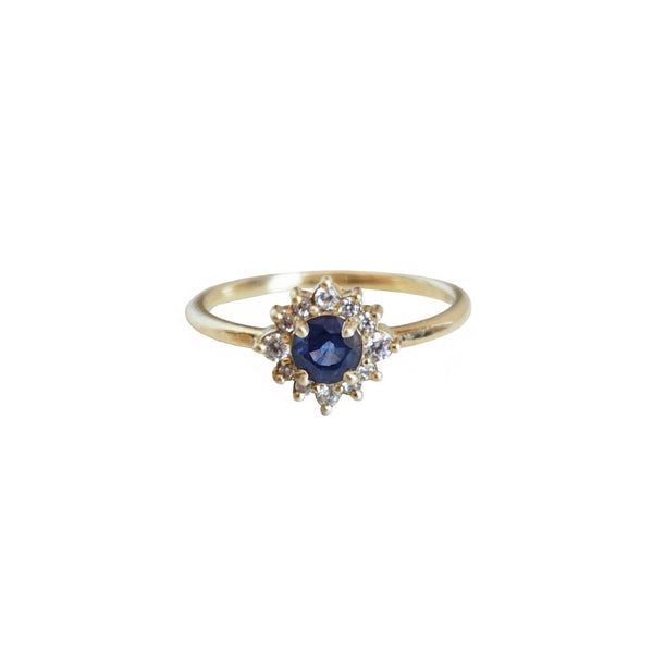 14KT Sapphire Flower Ring - Melroso Jewelry