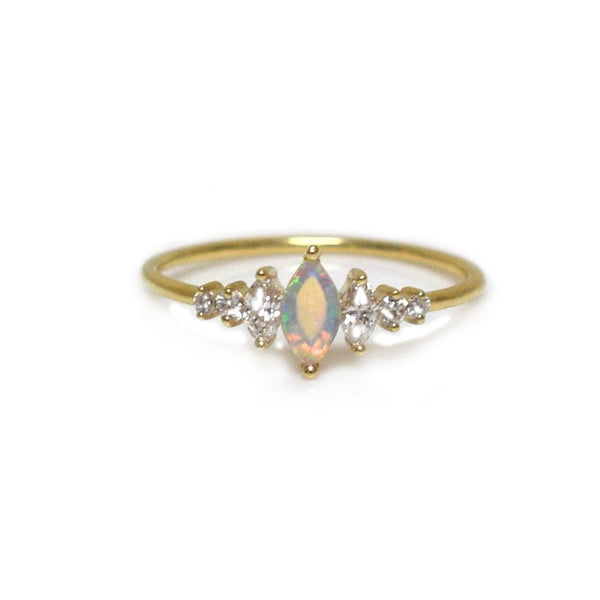 14KT Gold & Opal Diamond Ice Queen Ring - Melroso Jewelry