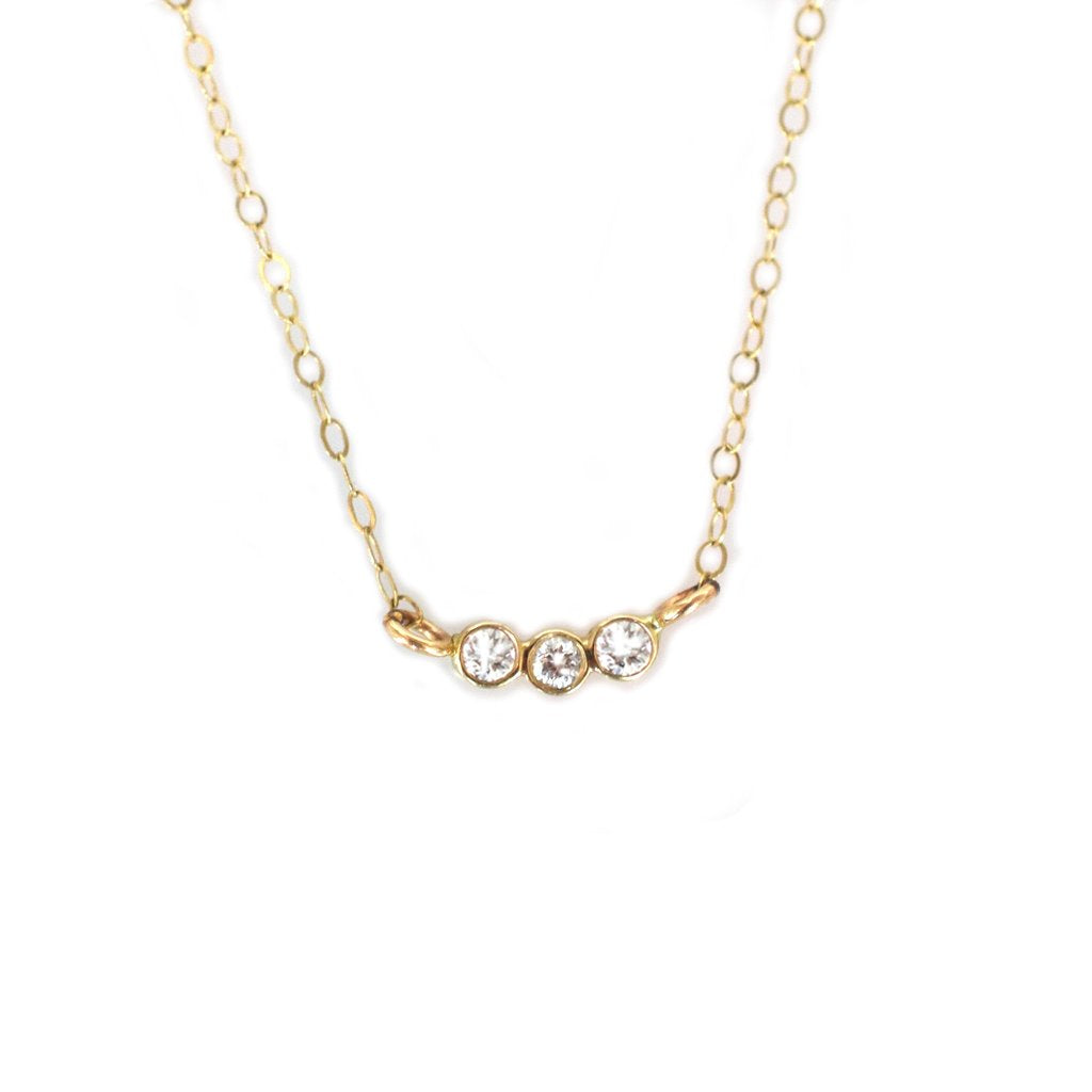 14KT Gold Diamond Trio Pendant - Melroso Jewelry