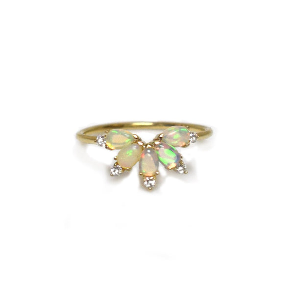 14KT Gold Diamond and Opal Parisian Butterfly Ring - Melroso Jewelry