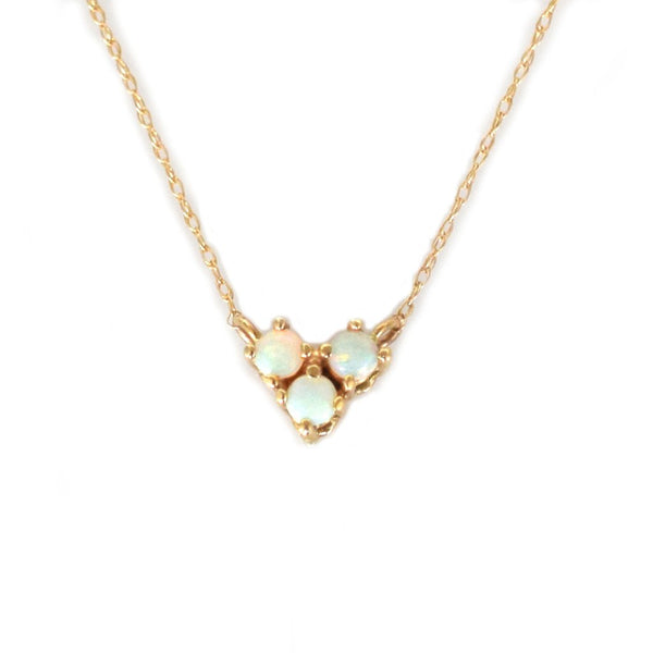 14KT Gold Opal Trio Pendant - Melroso Jewelry